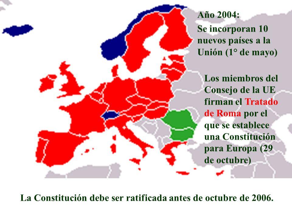 Año 2004: Se incorporan 10 nuevos países a la Unión (1° de mayo) Los miembros del Consejo de la UE firman el Tratado de Roma por el que se establece u