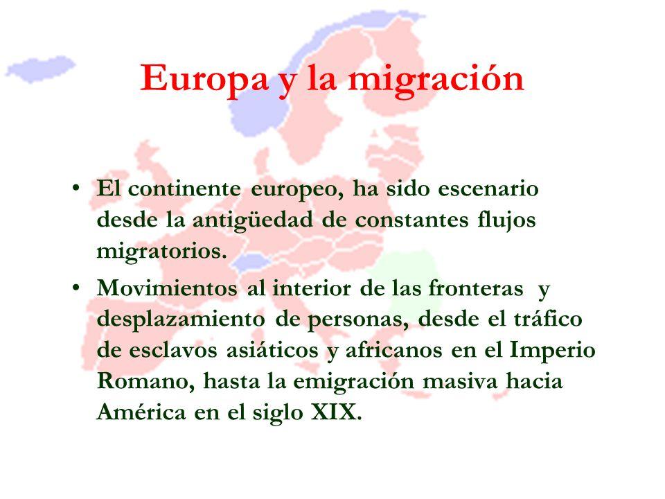 Europa y la migración El continente europeo, ha sido escenario desde la antigüedad de constantes flujos migratorios. Movimientos al interior de las fr