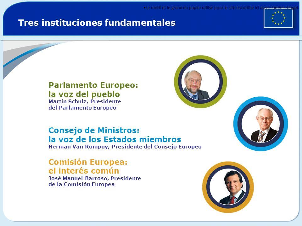 Tres instituciones fundamentales Parlamento Europeo: la voz del pueblo Martin Schulz, Presidente del Parlamento Europeo Consejo de Ministros: la voz d
