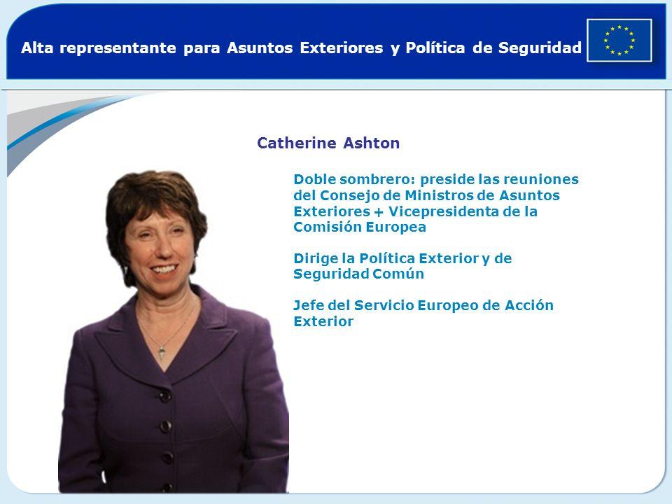 Alta representante para Asuntos Exteriores y Política de Seguridad Catherine Ashton Doble sombrero: preside las reuniones del Consejo de Ministros de