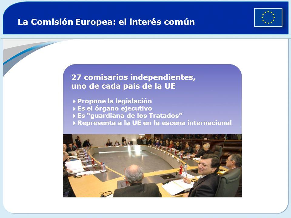 La Comisión Europea: el interés común 27 comisarios independientes, uno de cada país de la UE Propone la legislación Es el órgano ejecutivo Es guardia