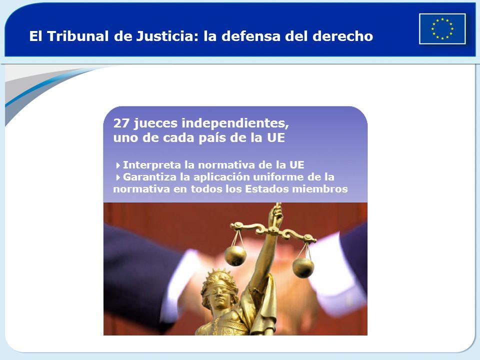 El Tribunal de Justicia: la defensa del derecho 27 jueces independientes, uno de cada país de la UE Interpreta la normativa de la UE Garantiza la apli