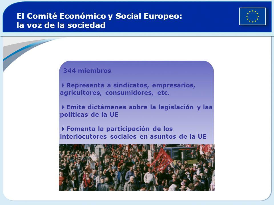 El Comité Económico y Social Europeo: la voz de la sociedad 344 miembros Representa a sindicatos, empresarios, agricultores, consumidores, etc. Emite