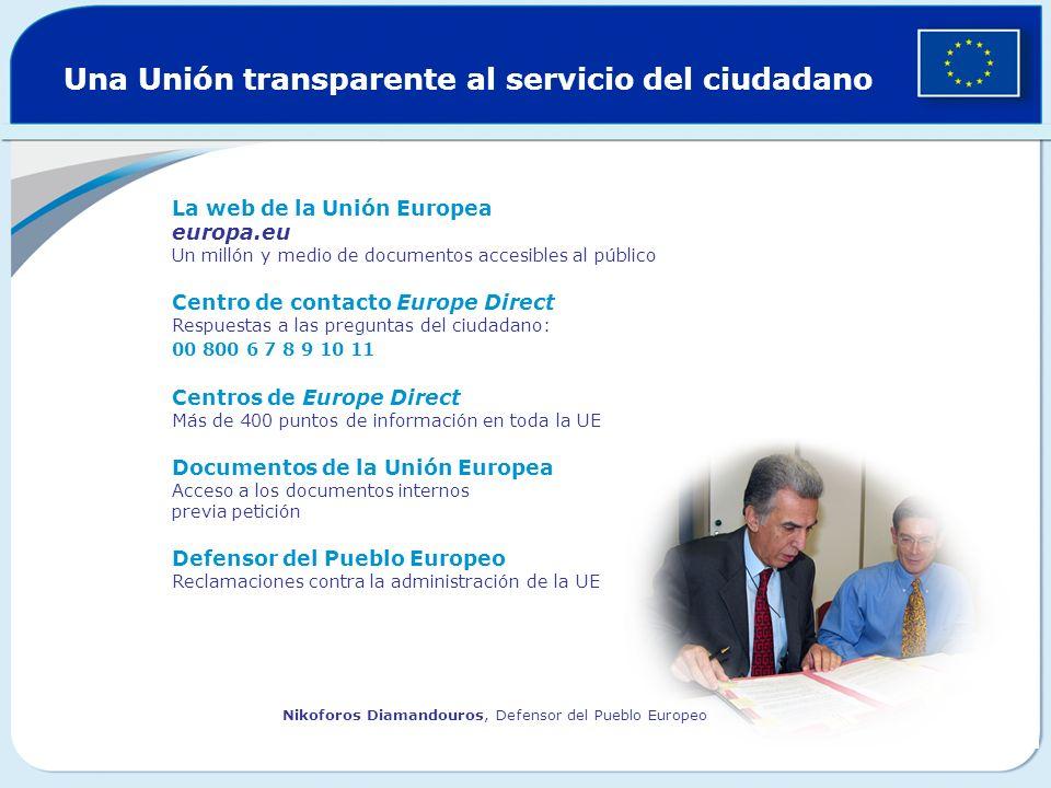 Una Unión transparente al servicio del ciudadano La web de la Unión Europea europa.eu Un millón y medio de documentos accesibles al público Centro de