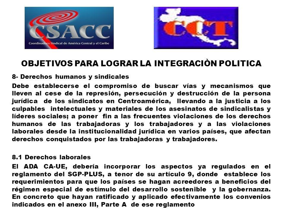 OBJETIVOS PARA LOGRAR LA INTEGRACIÒN POLITICA 8- Derechos humanos y sindicales Debe establecerse el compromiso de buscar vías y mecanismos que lleven