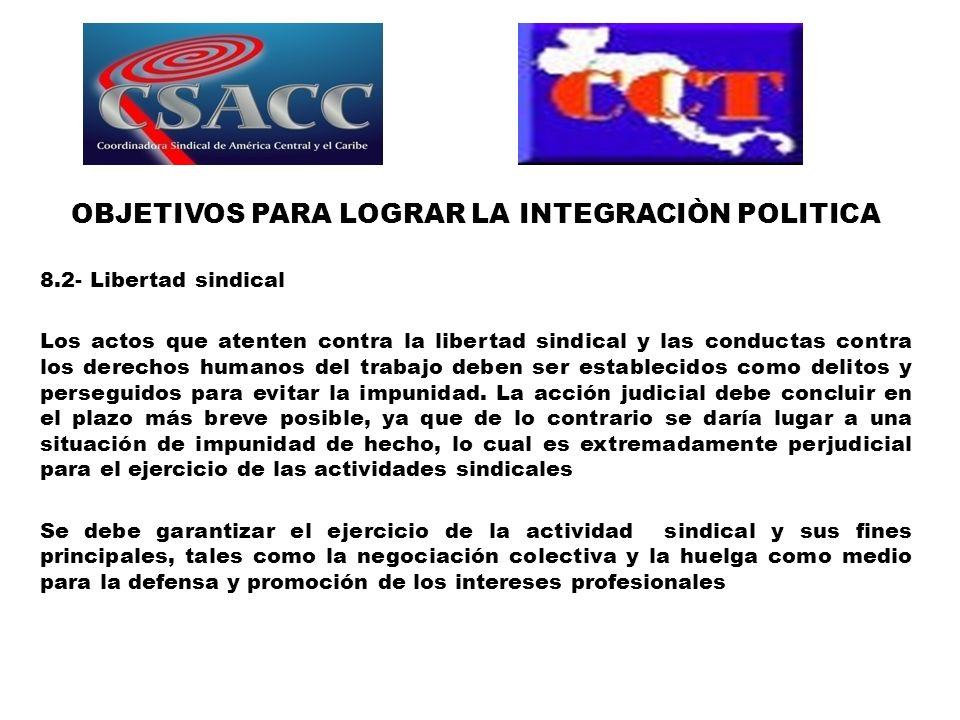 OBJETIVOS PARA LOGRAR LA INTEGRACIÒN POLITICA 8.2- Libertad sindical Los actos que atenten contra la libertad sindical y las conductas contra los dere