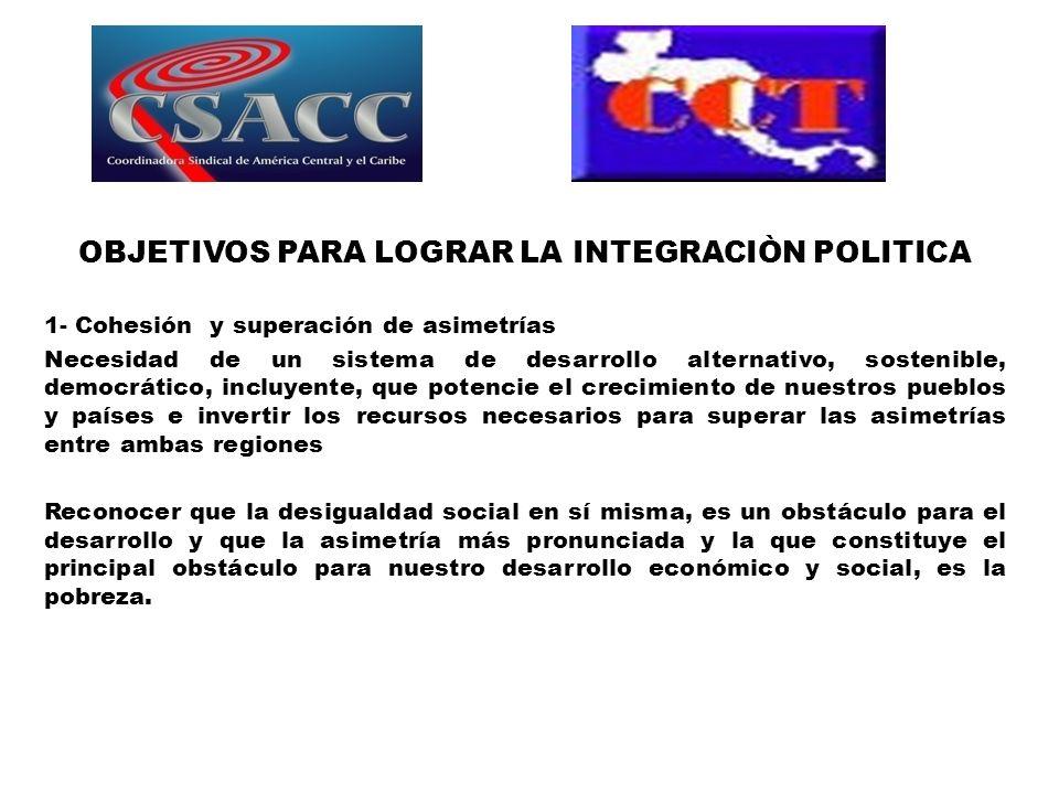 OBJETIVOS PARA LOGRAR LA INTEGRACIÒN POLITICA 1- Cohesión y superación de asimetrías Necesidad de un sistema de desarrollo alternativo, sostenible, de