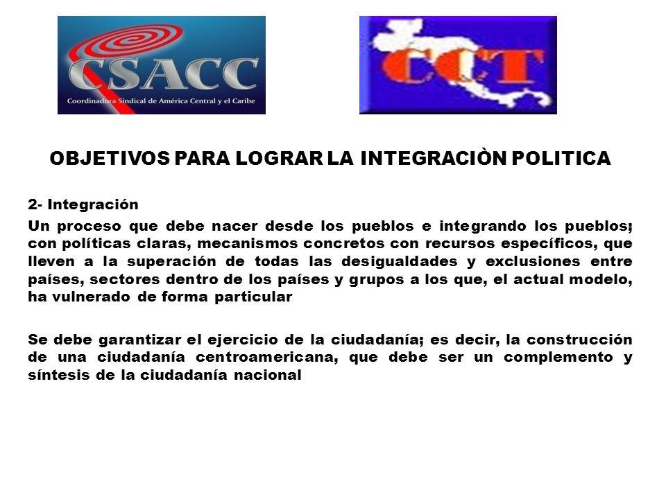 OBJETIVOS PARA LOGRAR LA INTEGRACIÒN POLITICA 2- Integración Un proceso que debe nacer desde los pueblos e integrando los pueblos; con políticas clara