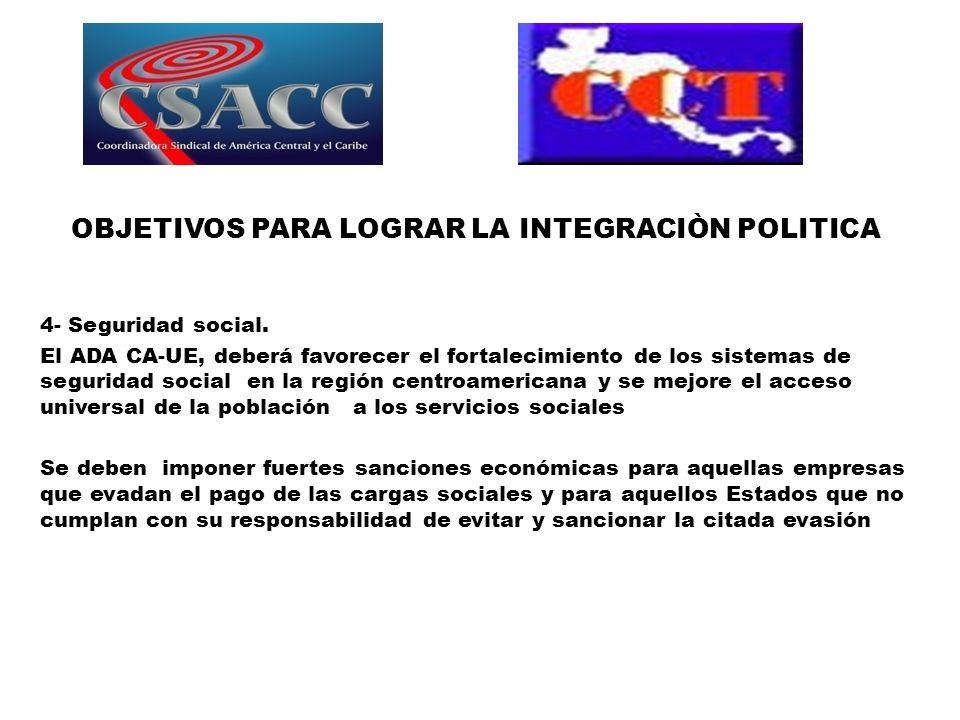 OBJETIVOS PARA LOGRAR LA INTEGRACIÒN POLITICA 4- Seguridad social.