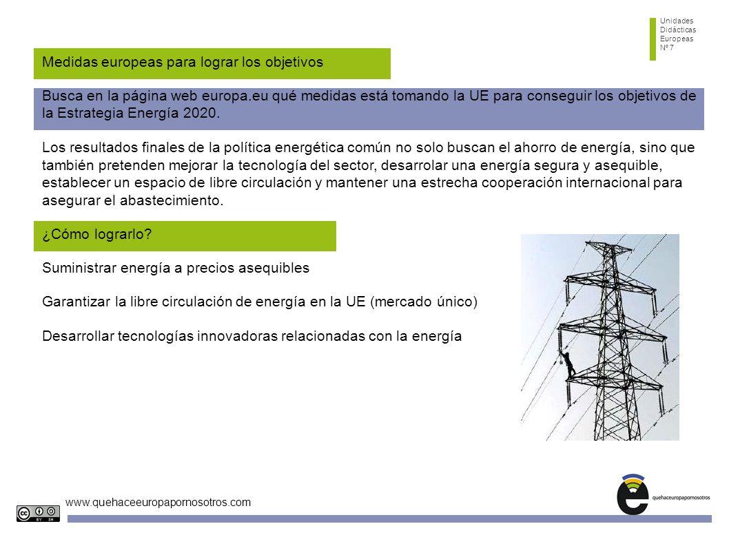 Unidades Didácticas Europeas Nº 7 www.quehaceeuropapornosotros.com Medidas europeas para lograr los objetivos Busca en la página web europa.eu qué medidas está tomando la UE para conseguir los objetivos de la Estrategia Energía 2020.