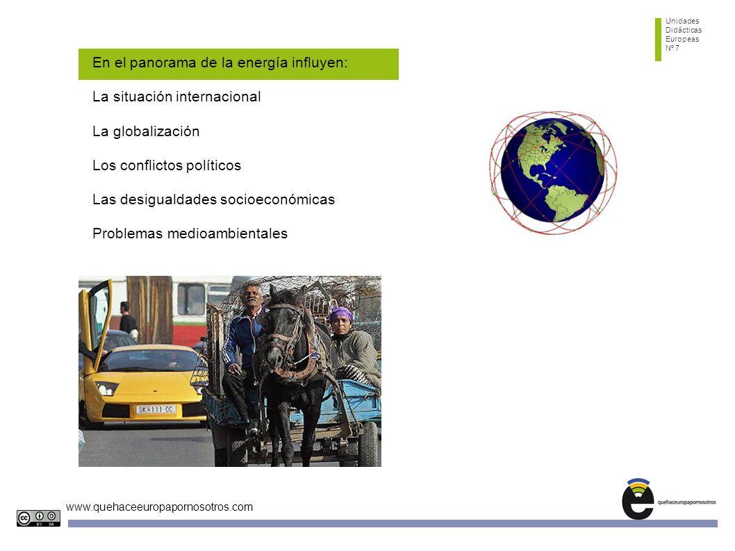 Unidades Didácticas Europeas Nº 7 www.quehaceeuropapornosotros.com En el panorama de la energía influyen: La situación internacional La globalización