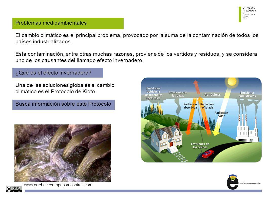 Unidades Didácticas Europeas Nº 7 www.quehaceeuropapornosotros.com Problemas medioambientales El cambio climático es el principal problema, provocado por la suma de la contaminación de todos los países industrializados.