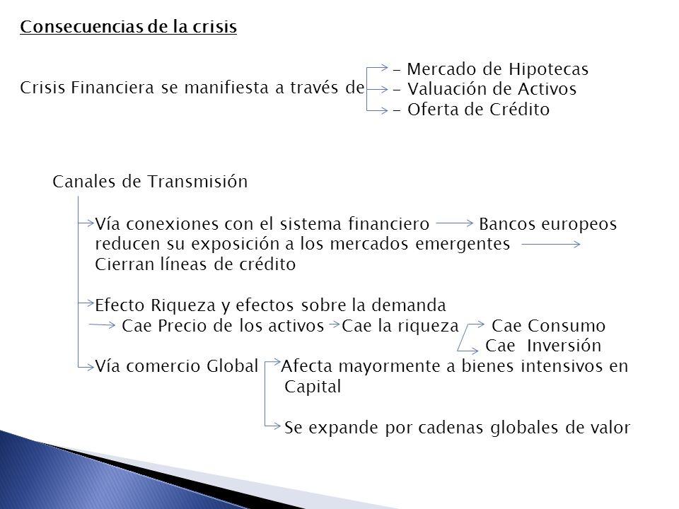 Consecuencias de la crisis Crisis Financiera se manifiesta a través de - Mercado de Hipotecas - Valuación de Activos - Oferta de Crédito Canales de Tr