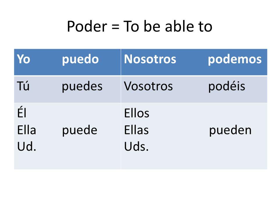 Poder = To be able to Yo puedoNosotros podemos Tú puedesVosotros podéis Él Ella puede Ud.