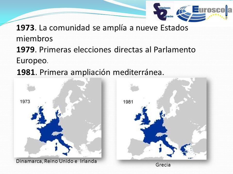 1973. La comunidad se amplía a nueve Estados miembros 1979. Primeras elecciones directas al Parlamento Europeo. 1981. Primera ampliación mediterránea.