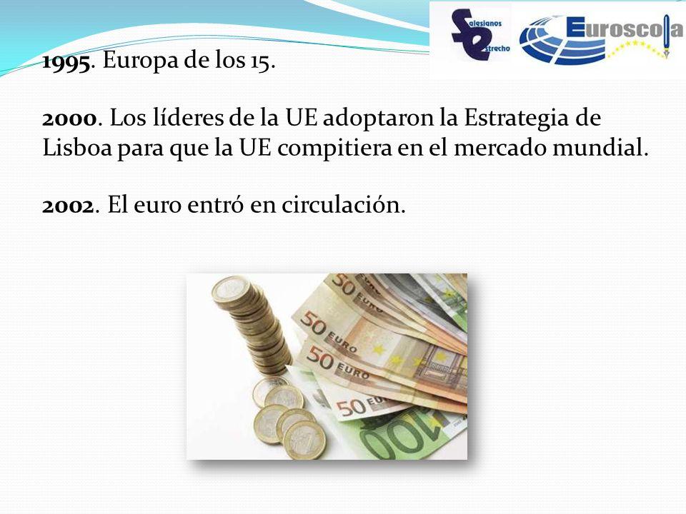 1995. Europa de los 15. 2000. Los líderes de la UE adoptaron la Estrategia de Lisboa para que la UE compitiera en el mercado mundial. 2002. El euro en