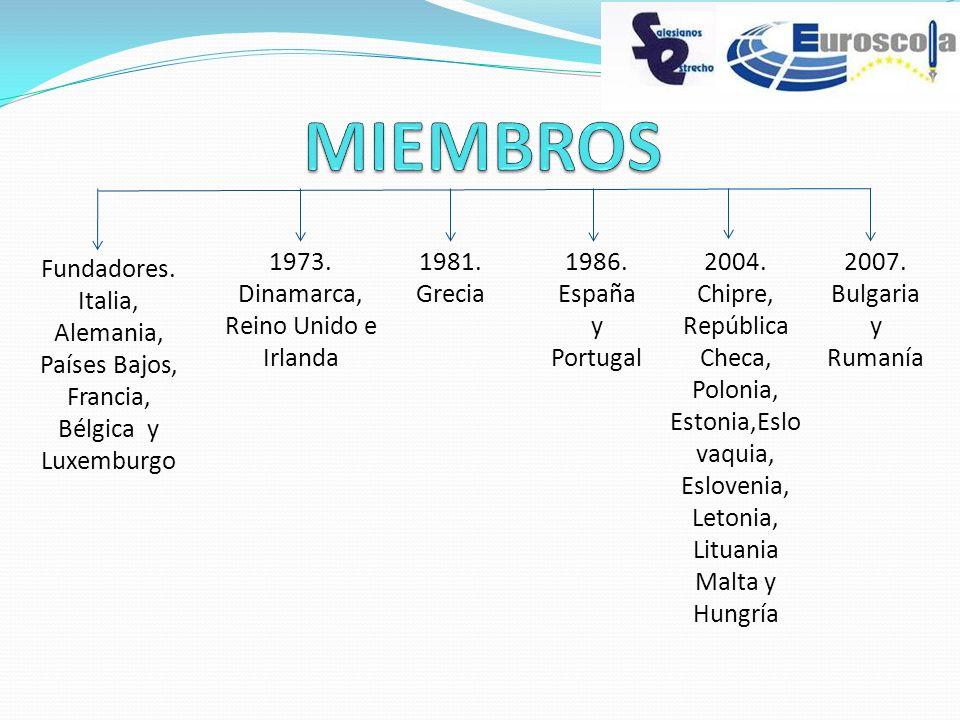 Fundadores. Italia, Alemania, Países Bajos, Francia, Bélgica y Luxemburgo 1973. Dinamarca, Reino Unido e Irlanda 1981. Grecia 1986. España y Portugal