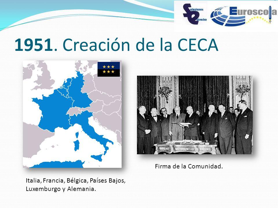 1951. Creación de la CECA Italia, Francia, Bélgica, Países Bajos, Luxemburgo y Alemania. Firma de la Comunidad.