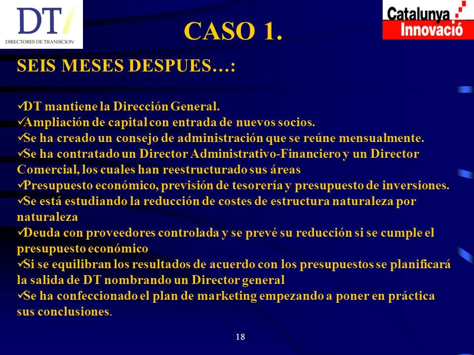 18 CASO 1. SEIS MESES DESPUES…: DT mantiene la Dirección General.