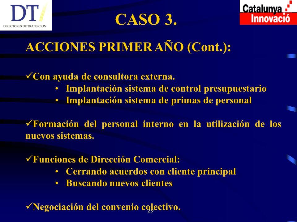 29 CASO 3. ACCIONES PRIMER AÑO (Cont.): Con ayuda de consultora externa.