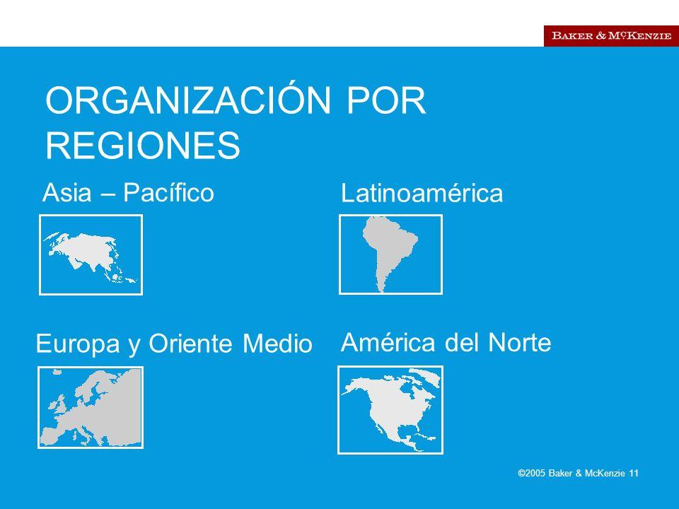 ©2005 Baker & McKenzie 11 ORGANIZACIÓN POR REGIONES Asia – Pacífico Europa y Oriente Medio Latinoamérica América del Norte