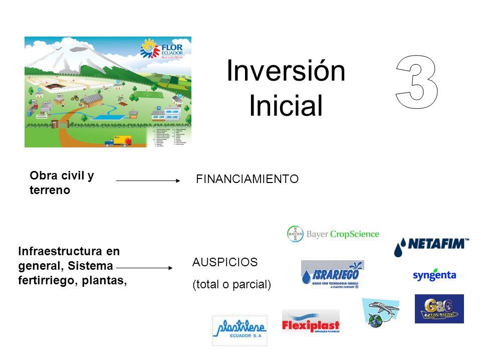 Inversión Inicial Obra civil y terreno FINANCIAMIENTO Infraestructura en general, Sistema fertirriego, plantas, AUSPICIOS (total o parcial)