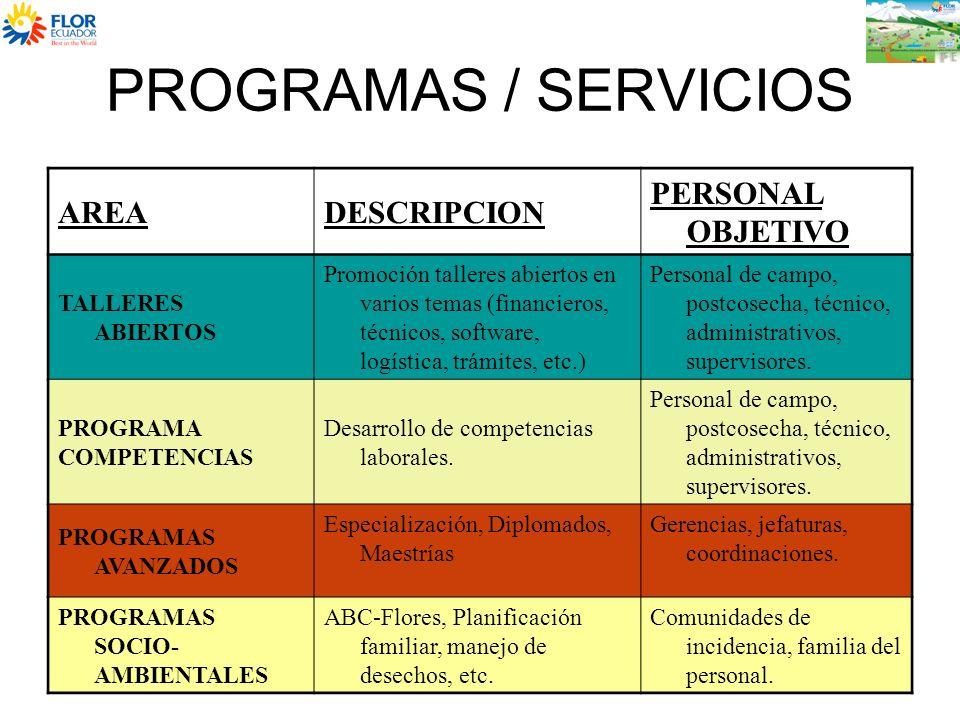 PROGRAMAS / SERVICIOS AREADESCRIPCION PERSONAL OBJETIVO TALLERES ABIERTOS Promoción talleres abiertos en varios temas (financieros, técnicos, software