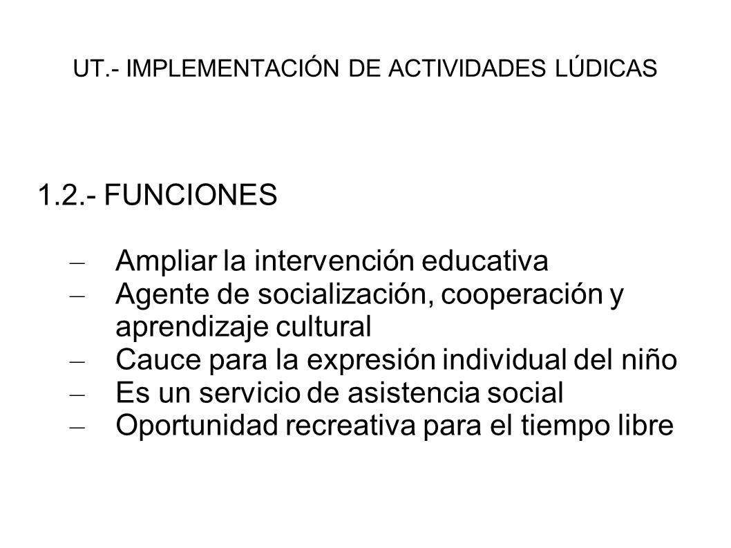 UT.- IMPLEMENTACIÓN DE ACTIVIDADES LÚDICAS 1.3.- TIPOLOGÍA – Culturales - Artísticas – Musicales- Dramáticas – Lúdicas- Deportivas – Formativas