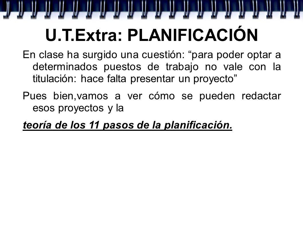 U.T.Extra: PLANIFICACIÓN 7º.- ¿CUÁNDO?.TEMPORALIZACIÓN Es el tiempo que va a durar el proyecto.