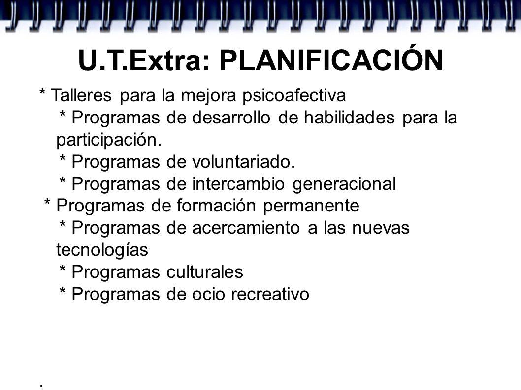 U.T.Extra: PLANIFICACIÓN * Talleres para la mejora psicoafectiva * Programas de desarrollo de habilidades para la participación. * Programas de volunt