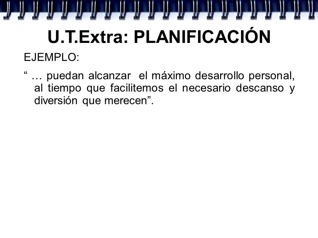U.T.Extra: PLANIFICACIÓN Y por supuesto citar en qué va a consistir nuestro trabajo: - Participar en el plan de actividades.