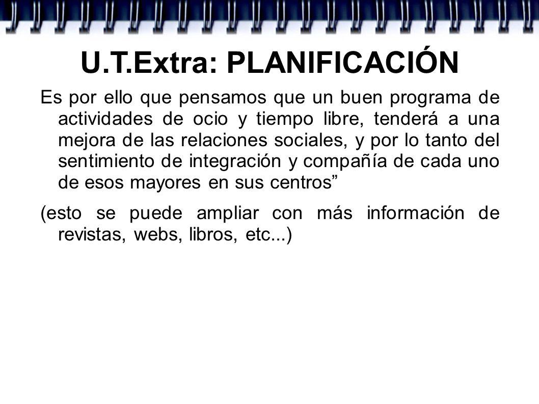 U.T.Extra: PLANIFICACIÓN 4º.- ¿PARA QUÉ?.OBJETIVOS Es lo que queremos conseguir con nuestro proyecto.
