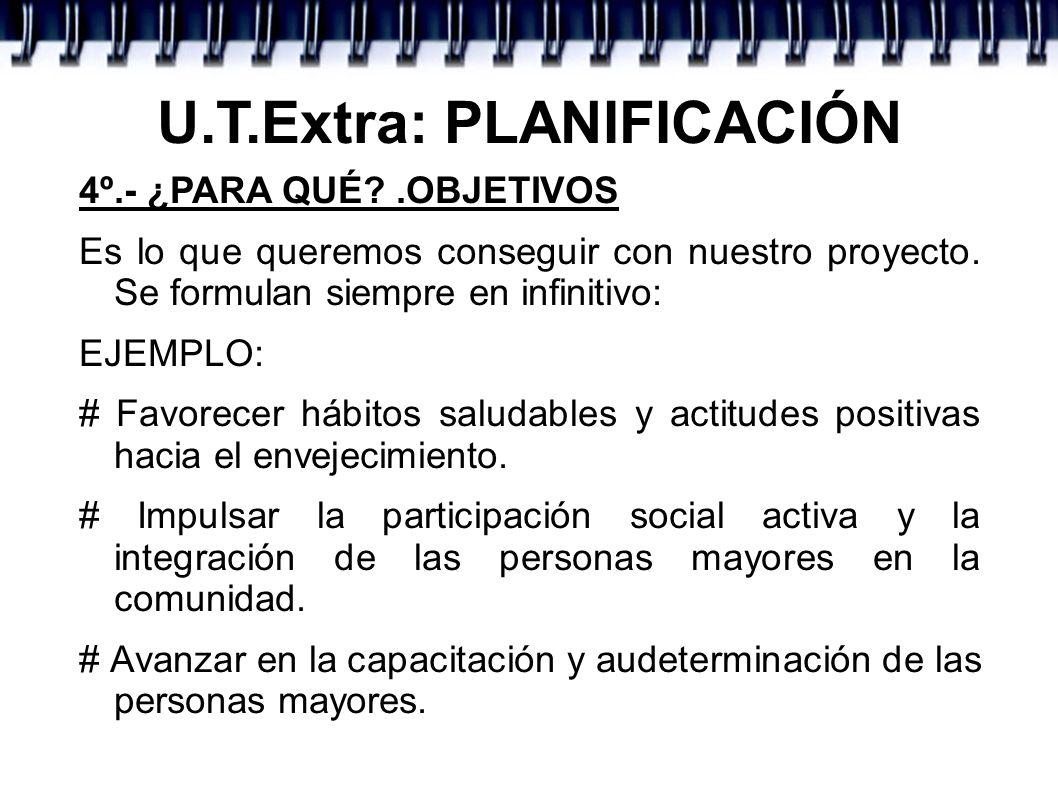 U.T.Extra: PLANIFICACIÓN # Facilitar una ocupación diversificada y significativa del tiempo libre Impulsar y dinamizar las relaciones sociales.