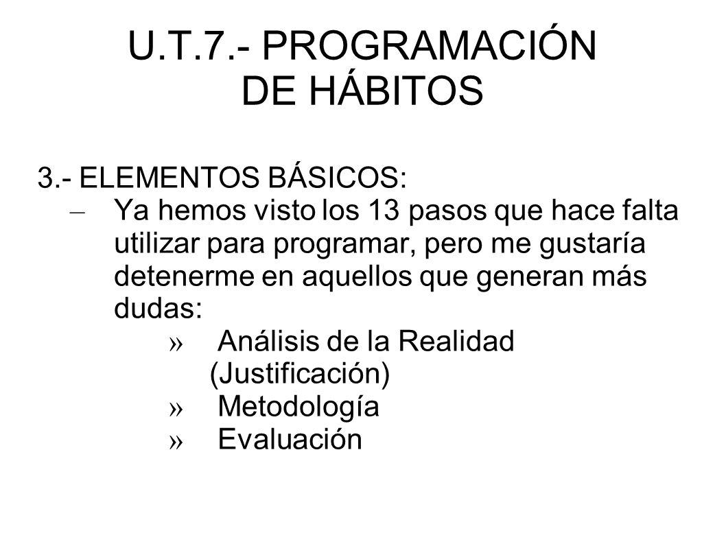 U.T.7.- PROGRAMACIÓN DE HÁBITOS 3.- ELEMENTOS BÁSICOS: – Ya hemos visto los 13 pasos que hace falta utilizar para programar, pero me gustaría detenerm