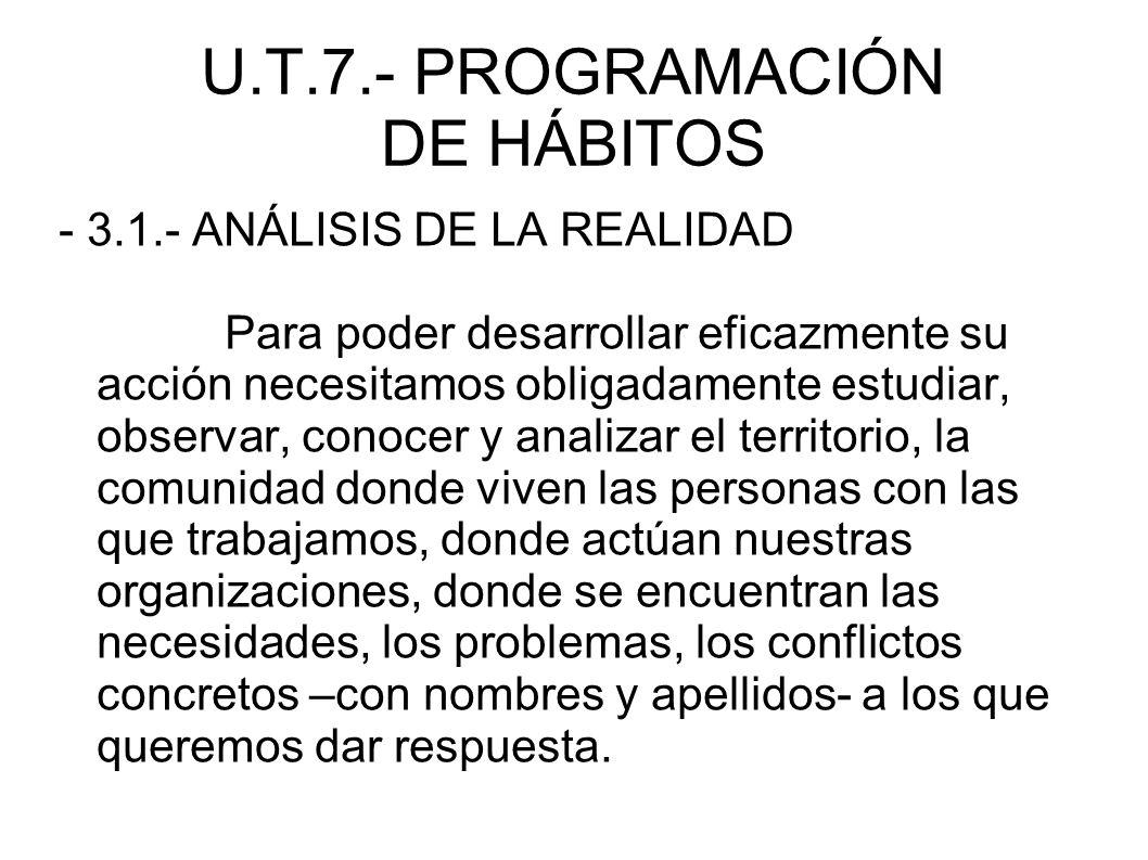 U.T.7.- PROGRAMACIÓN DE HÁBITOS - 3.1.- ANÁLISIS DE LA REALIDAD Para poder desarrollar eficazmente su acción necesitamos obligadamente estudiar, obser