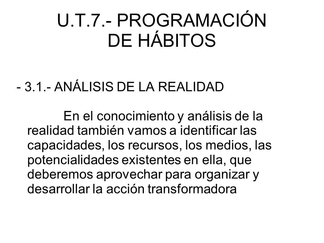 U.T.7.- PROGRAMACIÓN DE HÁBITOS - 3.1.- ANÁLISIS DE LA REALIDAD En el conocimiento y análisis de la realidad también vamos a identificar las capacidad