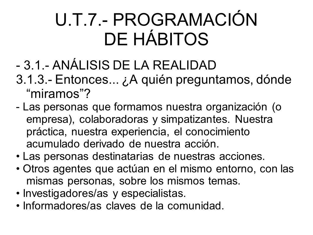 U.T.7.- PROGRAMACIÓN DE HÁBITOS - 3.1.- ANÁLISIS DE LA REALIDAD 3.1.3.- Entonces... ¿A quién preguntamos, dónde miramos? - Las personas que formamos n
