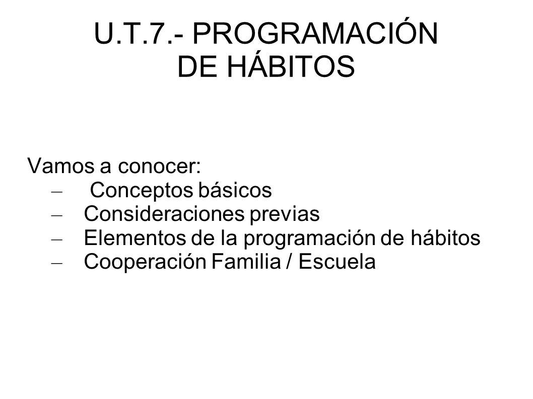 U.T.7.- PROGRAMACIÓN DE HÁBITOS Vamos a conocer: – Conceptos básicos – Consideraciones previas – Elementos de la programación de hábitos – Cooperación