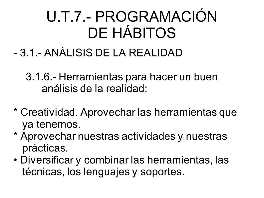 U.T.7.- PROGRAMACIÓN DE HÁBITOS - 3.1.- ANÁLISIS DE LA REALIDAD 3.1.6.- Herramientas para hacer un buen análisis de la realidad: * Creatividad. Aprove