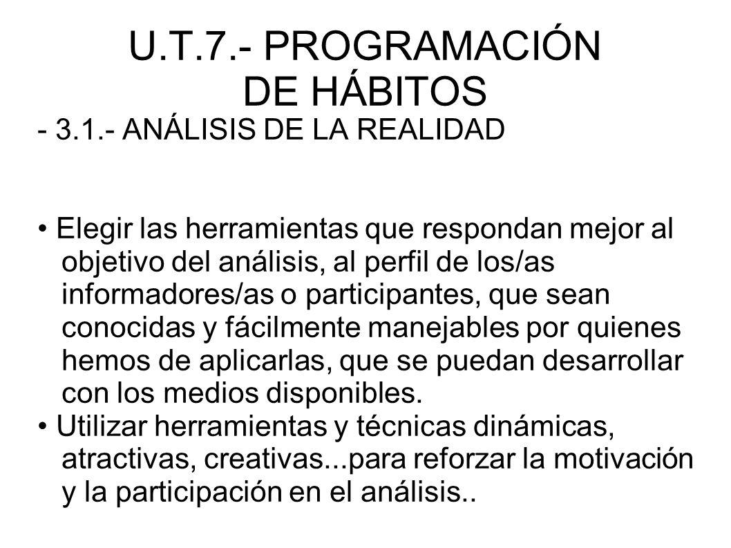 U.T.7.- PROGRAMACIÓN DE HÁBITOS - 3.1.- ANÁLISIS DE LA REALIDAD Elegir las herramientas que respondan mejor al objetivo del análisis, al perfil de los