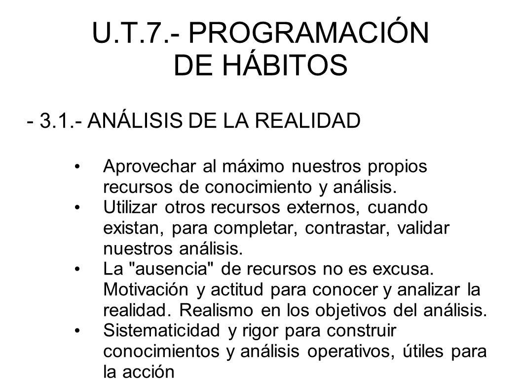 U.T.7.- PROGRAMACIÓN DE HÁBITOS - 3.1.- ANÁLISIS DE LA REALIDAD Aprovechar al máximo nuestros propios recursos de conocimiento y análisis. Utilizar ot