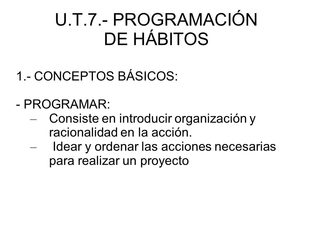 U.T.7.- PROGRAMACIÓN DE HÁBITOS 1.- CONCEPTOS BÁSICOS: - 1.1.- PROGRAMACIÓN: – Establecer una serie de actividades en un contexto y en un tiempo determinado para enseñar unos contenidos con la pretensión de conseguir objetivos.