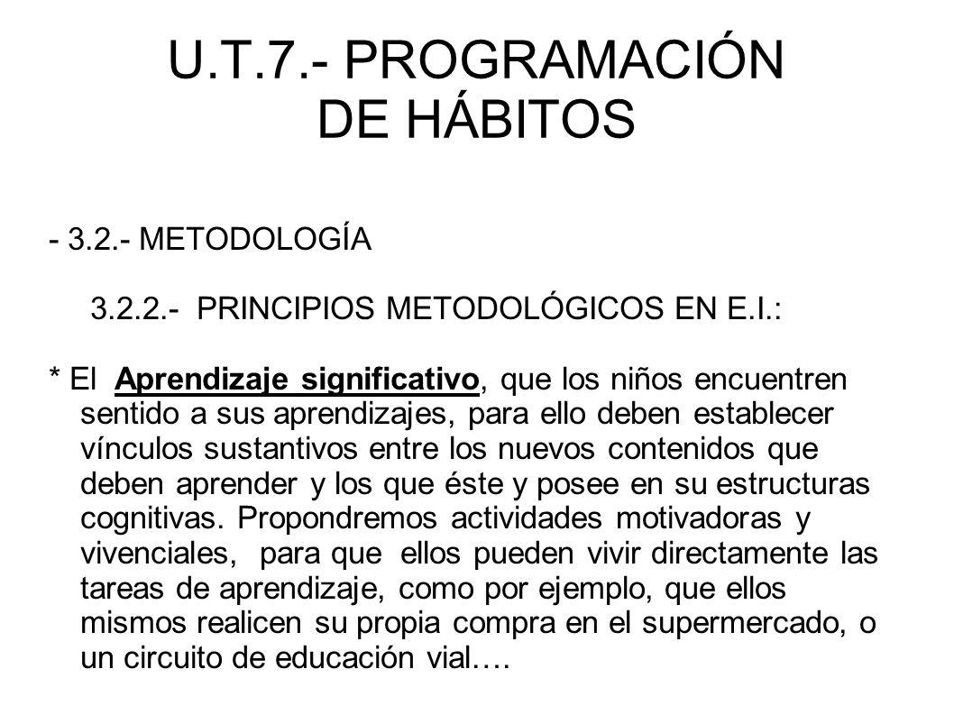 U.T.7.- PROGRAMACIÓN DE HÁBITOS - 3.2.- METODOLOGÍA 3.2.2.- PRINCIPIOS METODOLÓGICOS EN E.I.: * El Aprendizaje significativo, que los niños encuentren