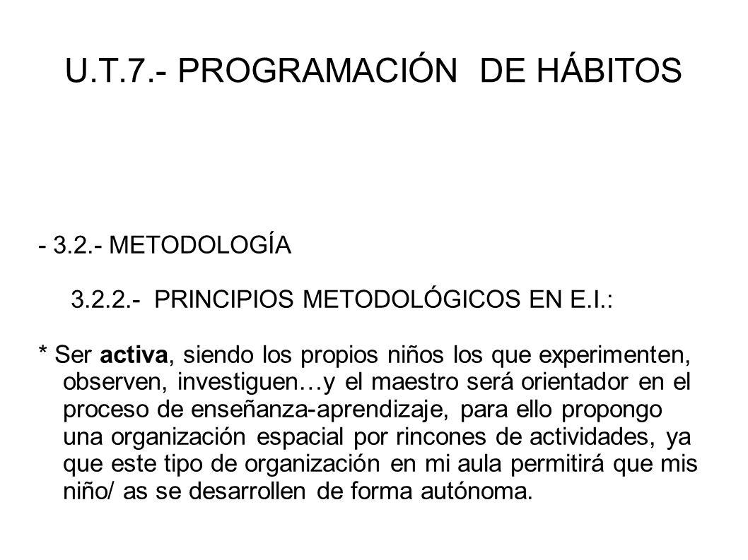 U.T.7.- PROGRAMACIÓN DE HÁBITOS - 3.2.- METODOLOGÍA 3.2.2.- PRINCIPIOS METODOLÓGICOS EN E.I.: * Ser activa, siendo los propios niños los que experimen
