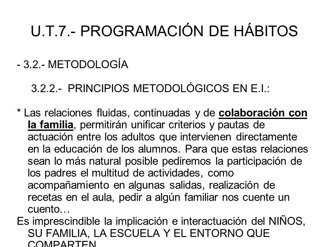 U.T.7.- PROGRAMACIÓN DE HÁBITOS - 3.2.- METODOLOGÍA 3.2.2.- PRINCIPIOS METODOLÓGICOS EN E.I.: * Las relaciones fluidas, continuadas y de colaboración