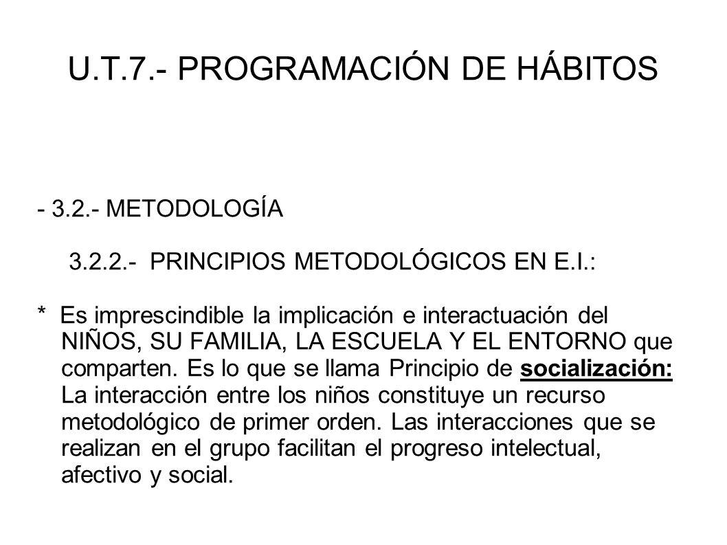 U.T.7.- PROGRAMACIÓN DE HÁBITOS - 3.2.- METODOLOGÍA 3.2.2.- PRINCIPIOS METODOLÓGICOS EN E.I.: * Es imprescindible la implicación e interactuación del