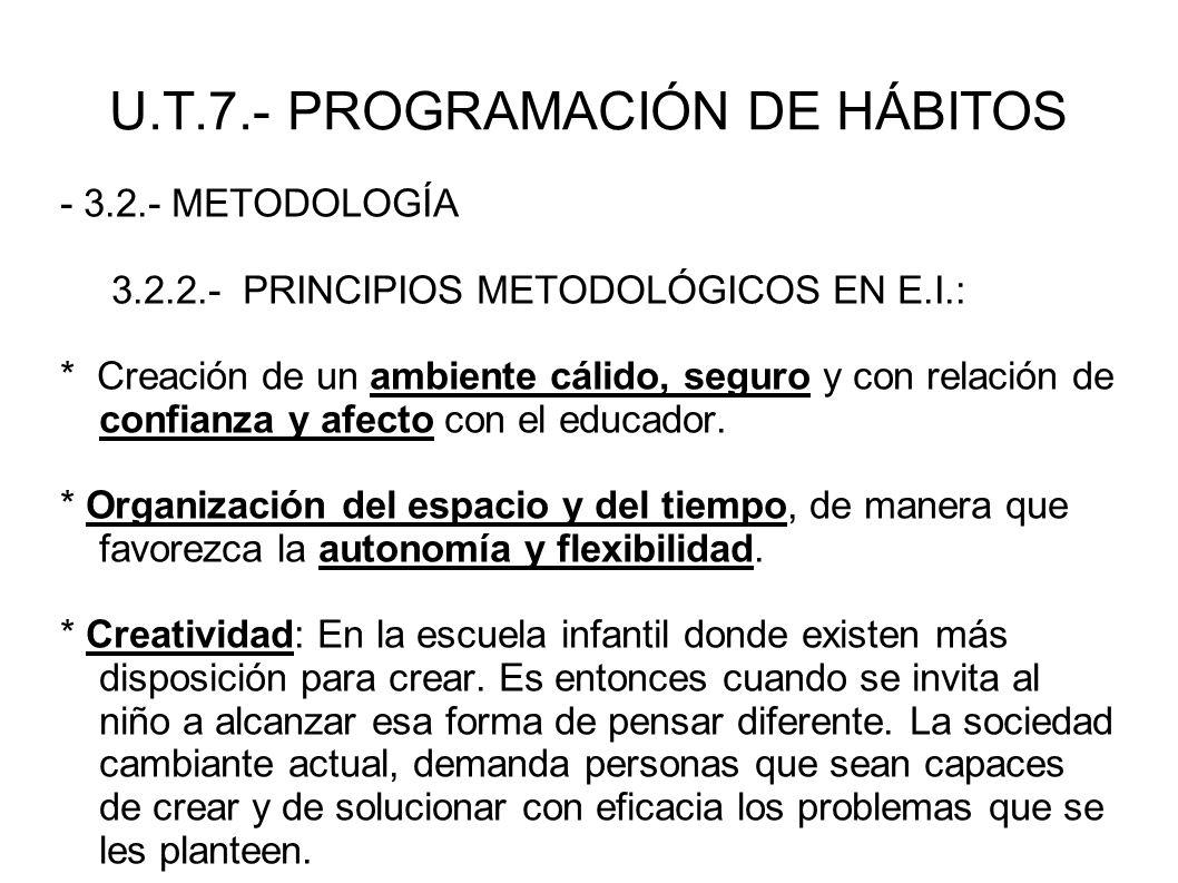 U.T.7.- PROGRAMACIÓN DE HÁBITOS - 3.2.- METODOLOGÍA 3.2.2.- PRINCIPIOS METODOLÓGICOS EN E.I.: * Creación de un ambiente cálido, seguro y con relación