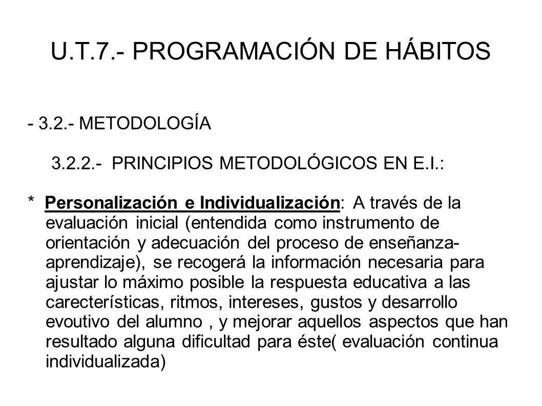 U.T.7.- PROGRAMACIÓN DE HÁBITOS - 3.2.- METODOLOGÍA 3.2.2.- PRINCIPIOS METODOLÓGICOS EN E.I.: * Personalización e Individualización: A través de la ev