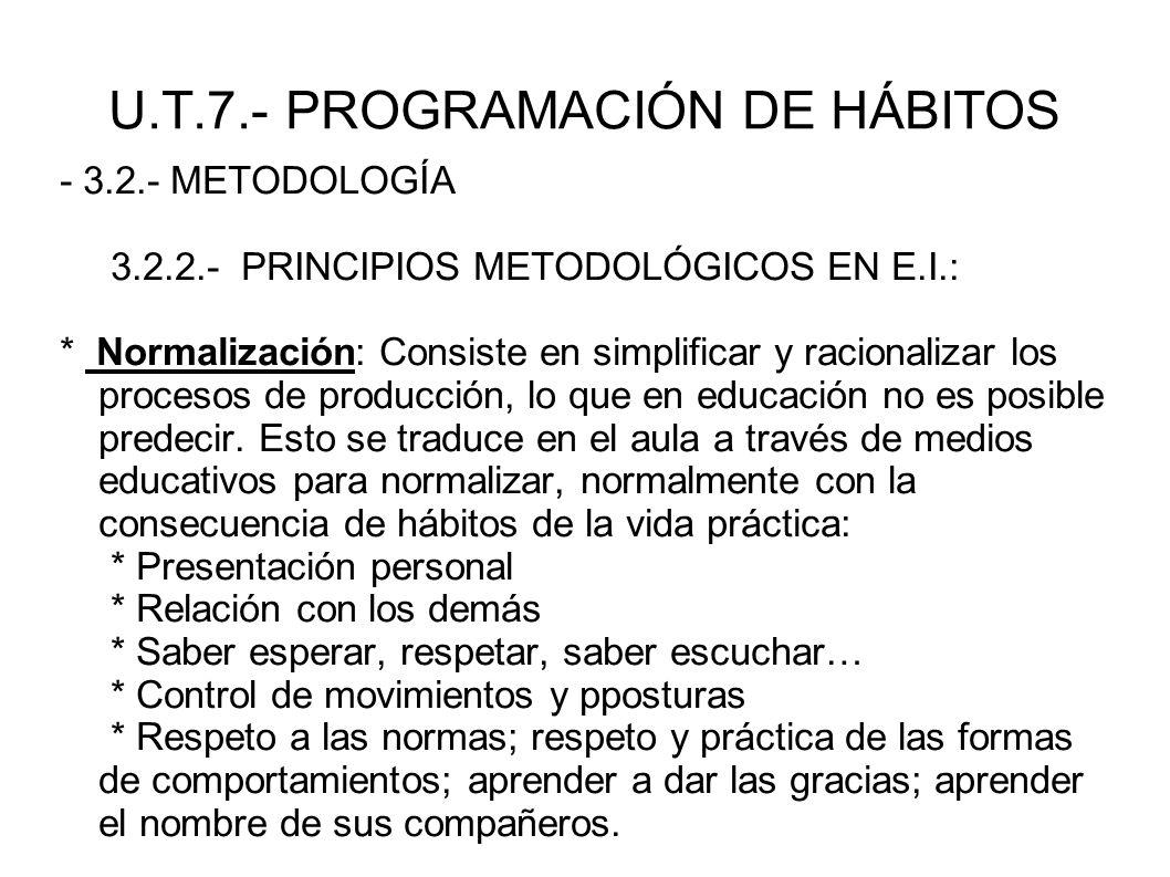 U.T.7.- PROGRAMACIÓN DE HÁBITOS - 3.2.- METODOLOGÍA 3.2.2.- PRINCIPIOS METODOLÓGICOS EN E.I.: * Normalización: Consiste en simplificar y racionalizar