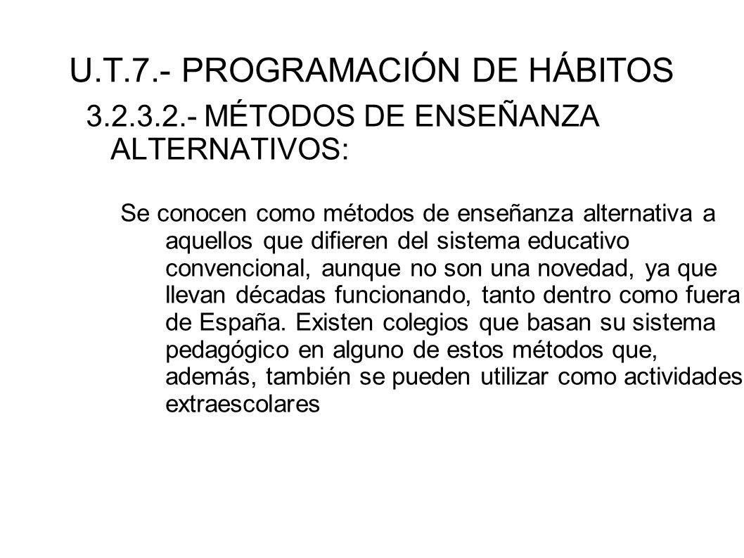 U.T.7.- PROGRAMACIÓN DE HÁBITOS 3.2.3.2.- MÉTODOS DE ENSEÑANZA ALTERNATIVOS: Se conocen como métodos de enseñanza alternativa a aquellos que difieren